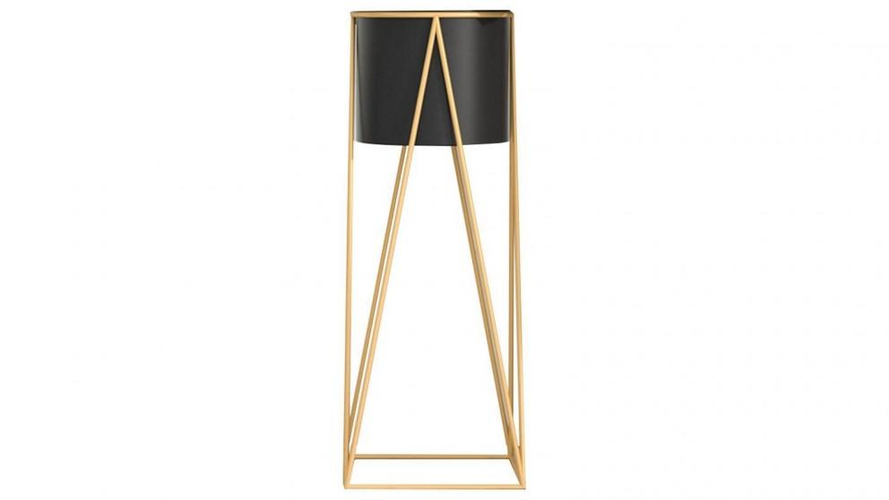 SOGA 50cm Gold Metal Plant Stand with Flower Pot Holder - Black