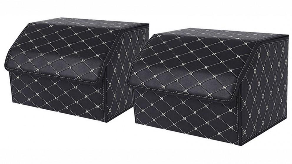 SOGA 2x Medium Car Boot Storage Box - Black/Gold
