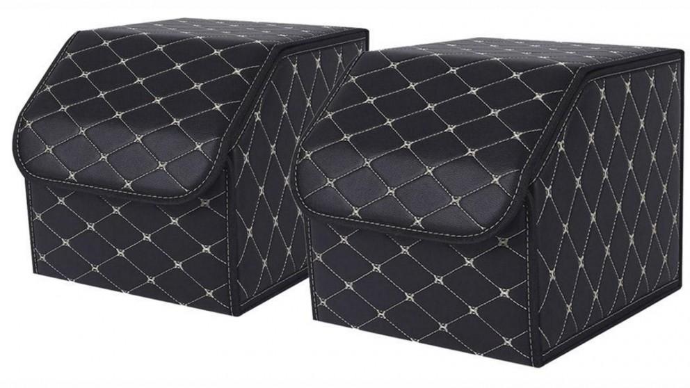 SOGA 2x Small Car Boot Storage Box - Black/Gold