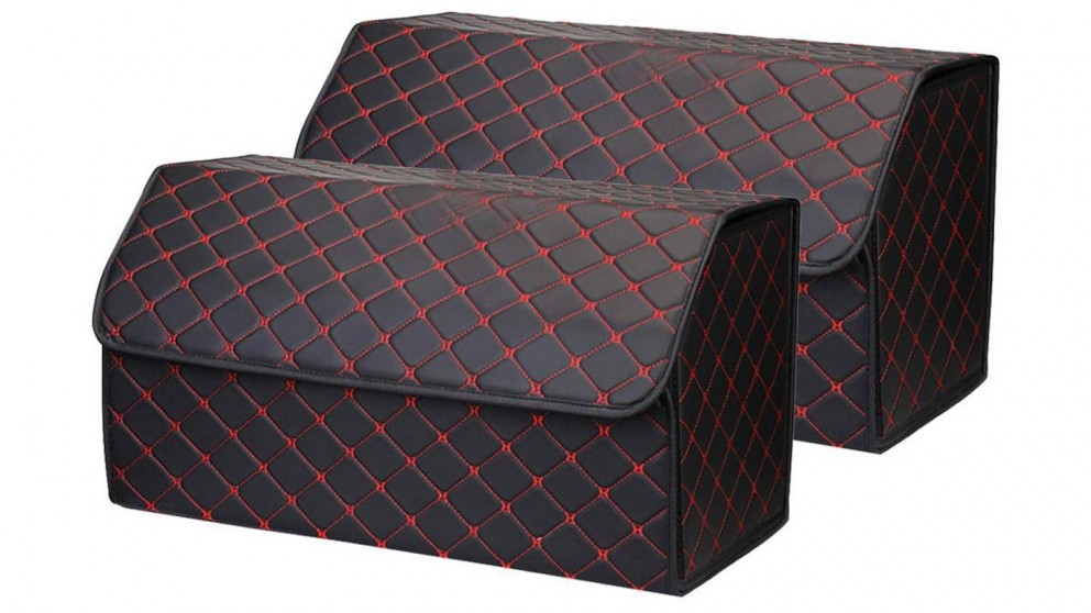 SOGA 2x Large Car Boot Storage Box - Black/Red