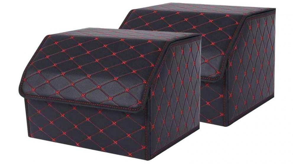 SOGA 2x Medium Car Boot Storage Box - Black/Red