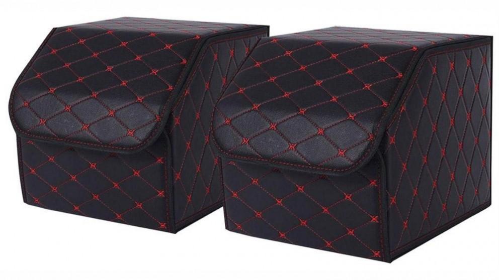 SOGA 2x Small Car Boot Storage Box - Black/Red