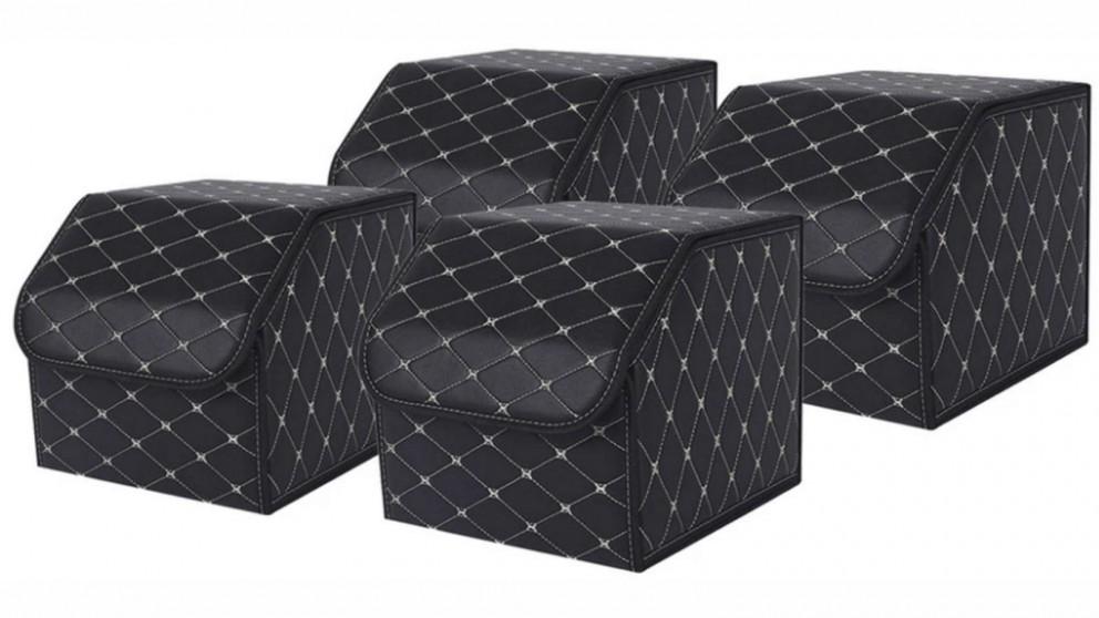 SOGA 4x Small Car Boot Storage Box - Black/Gold