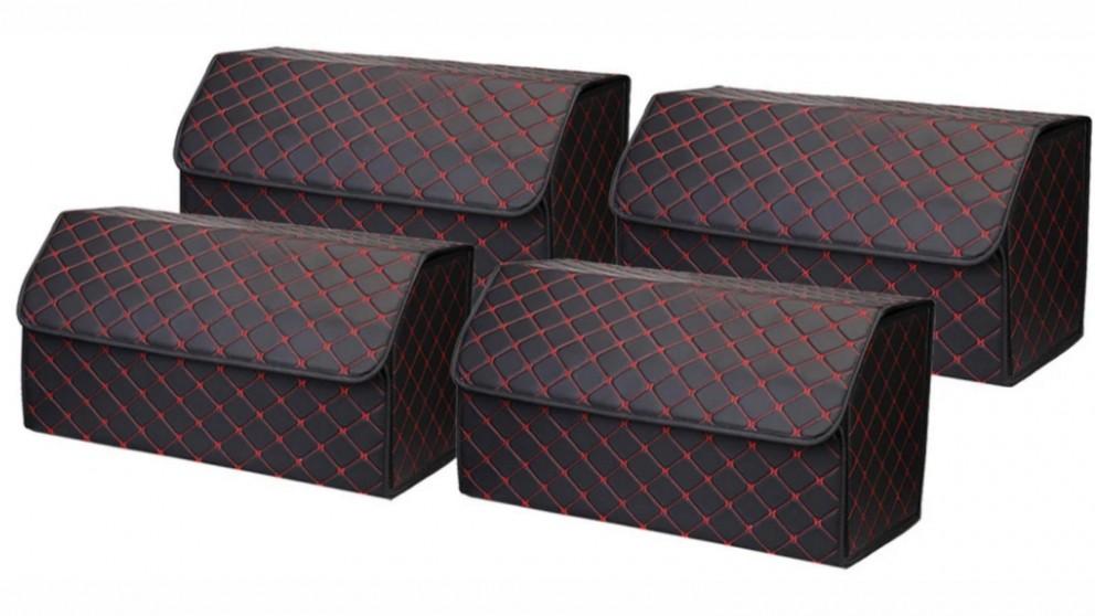 SOGA 4x Large Car Boot Storage Box - Black/Red