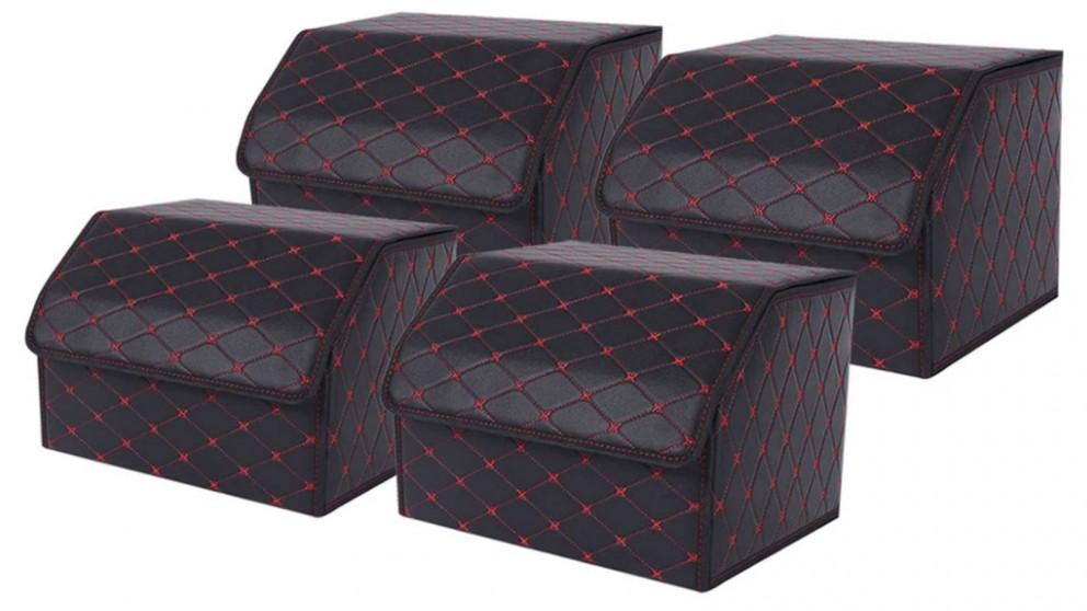 SOGA 4x Medium Car Boot Storage Box - Black/Red
