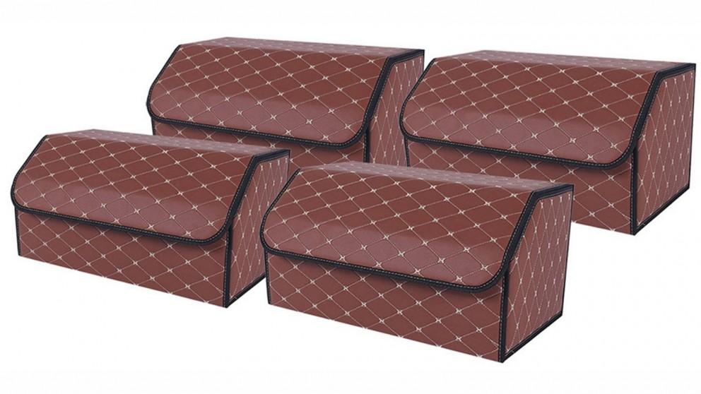 SOGA 4x Large Car Boot Storage Box - Coffee/Gold