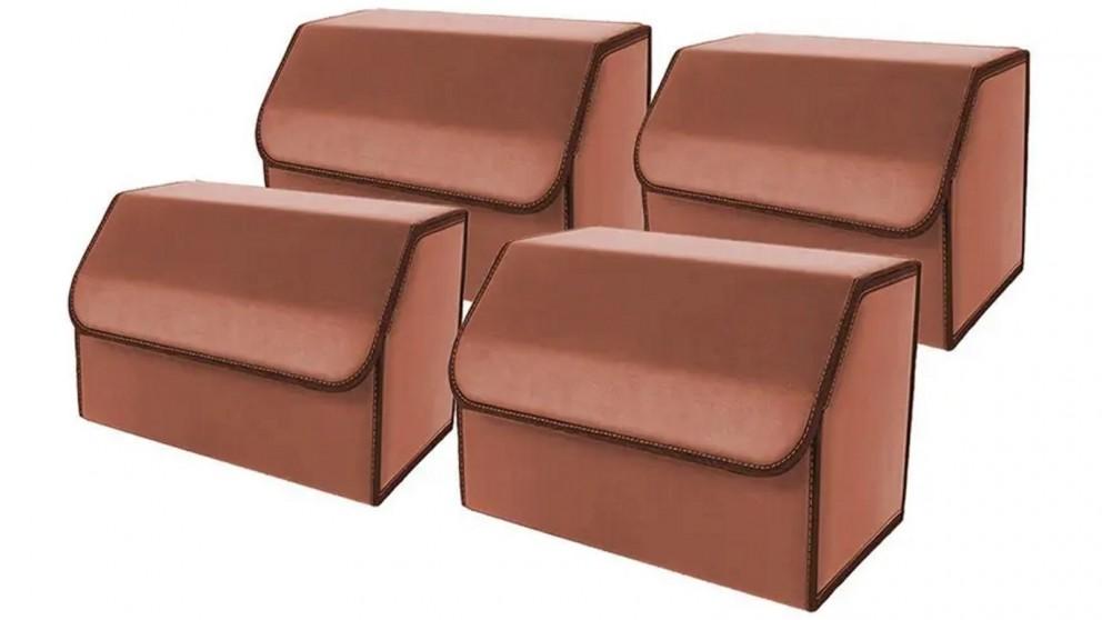 SOGA 4x Medium Car Boot Storage Box - Coffee