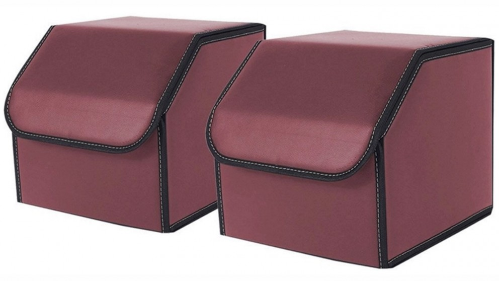 SOGA 2x Small Car Boot Storage Box - Red