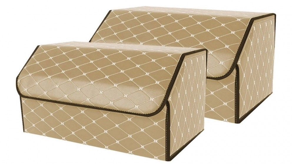 SOGA 2x Large Car Boot Storage Box - Beige/Gold