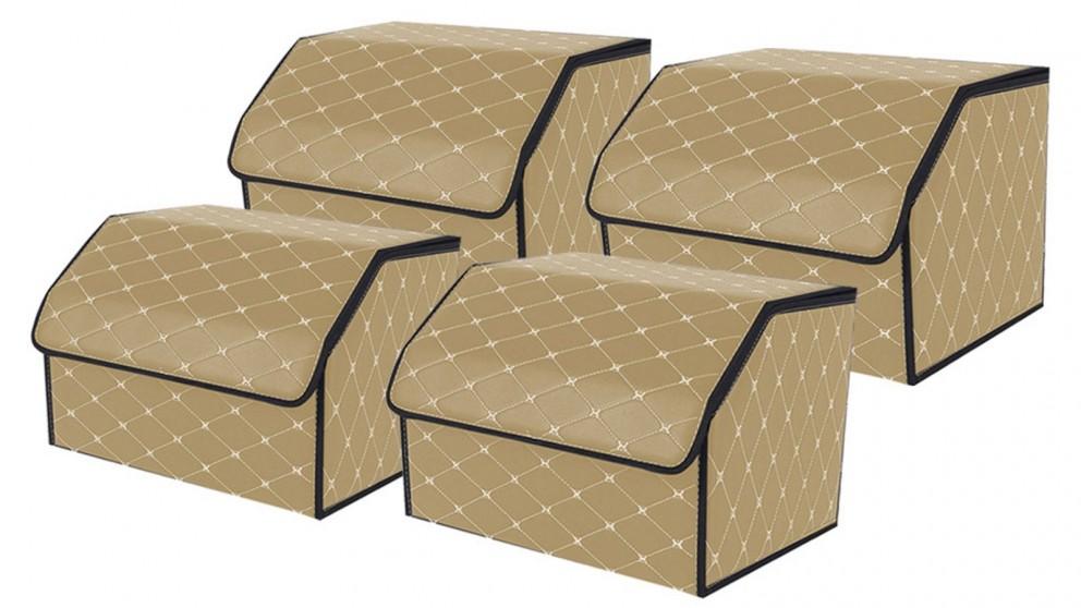 SOGA 4x Medium Car Boot Storage Box - Beige/Gold