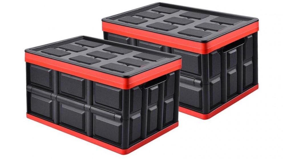 SOGA 2x 30L Collapsible Storage Box - Black