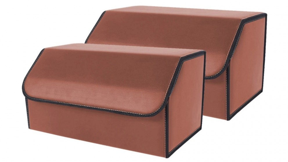 SOGA 2x Large Car Boot Storage Box - Coffee