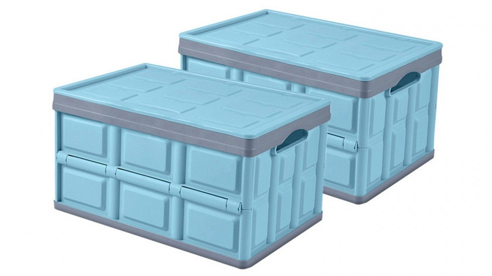 SOGA 2x 56L Collapsible Storage Box - Blue