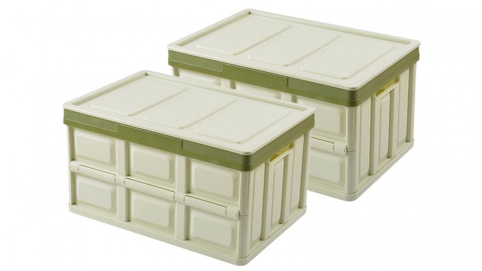 SOGA 2x 56L Collapsible Storage Box - Green