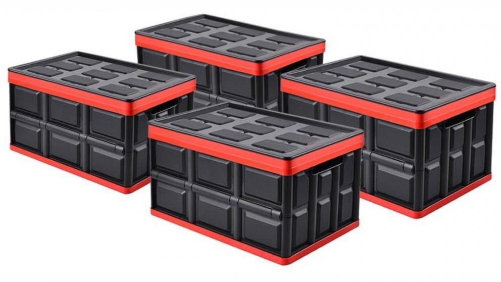 SOGA 4x 30L Collapsible Storage Box - Black