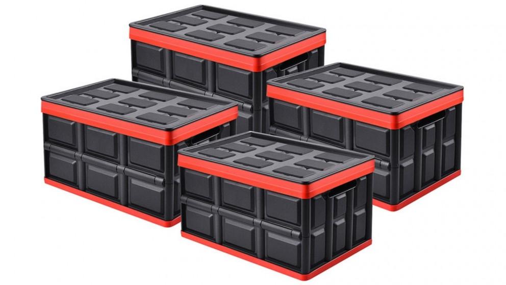 SOGA 4x 56L Collapsible Storage Box - Black