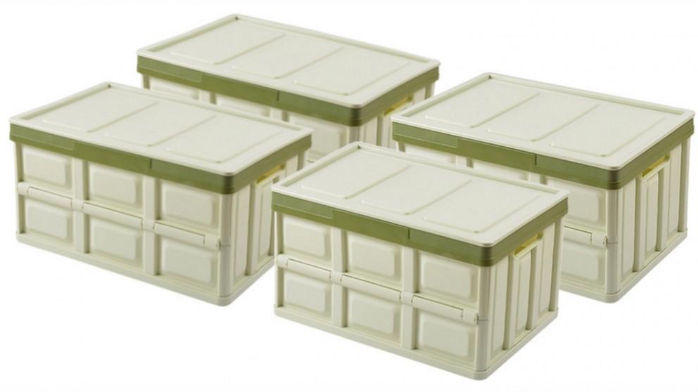 SOGA 4x 56L Collapsible Storage Box - Green