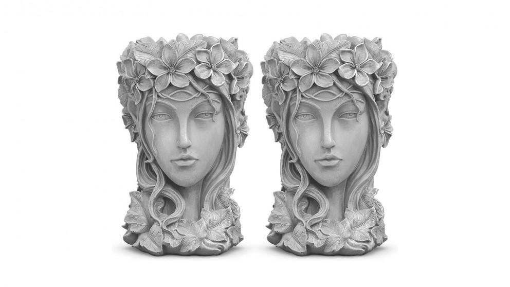 SOGA 2x Resin Flower Pot Decor - Grey