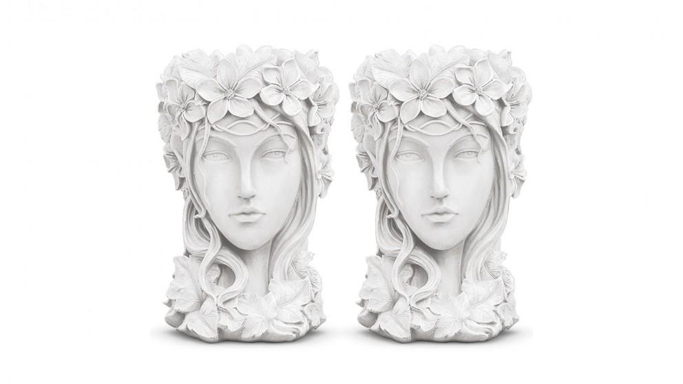 SOGA 2x Resin Flower Pot Decor - White