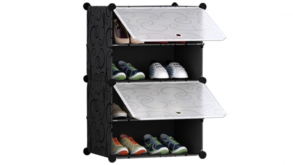 SOGA 4 Tier Portable Stackable Shoe Rack Storage Cabinet Wardrobe with Cover