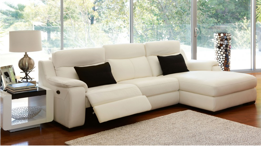 Longmont 3 Seater Powered Leather Recliner Lounge With Chaise