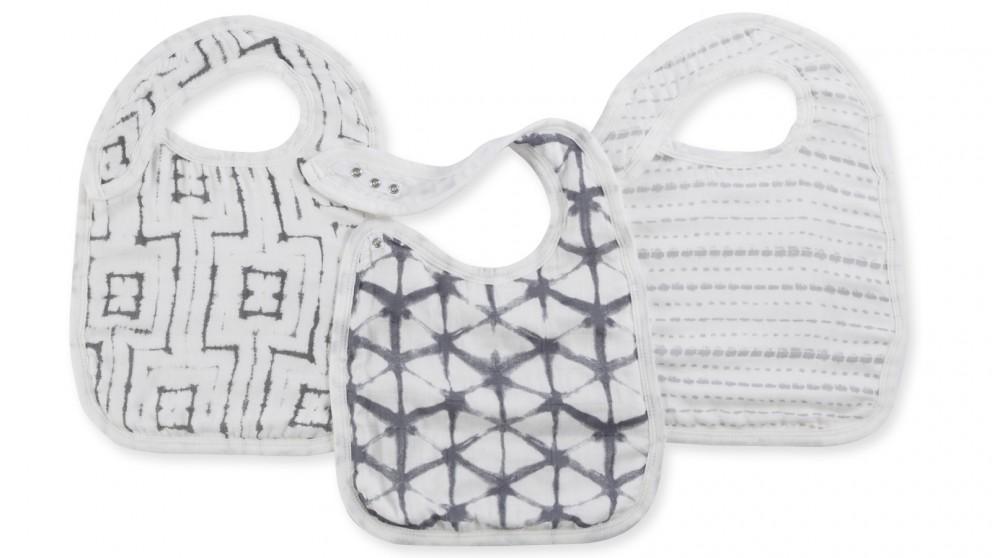 Aden+Anais Pebble Shibori 3-Pack Silky Soft Snap Bibs