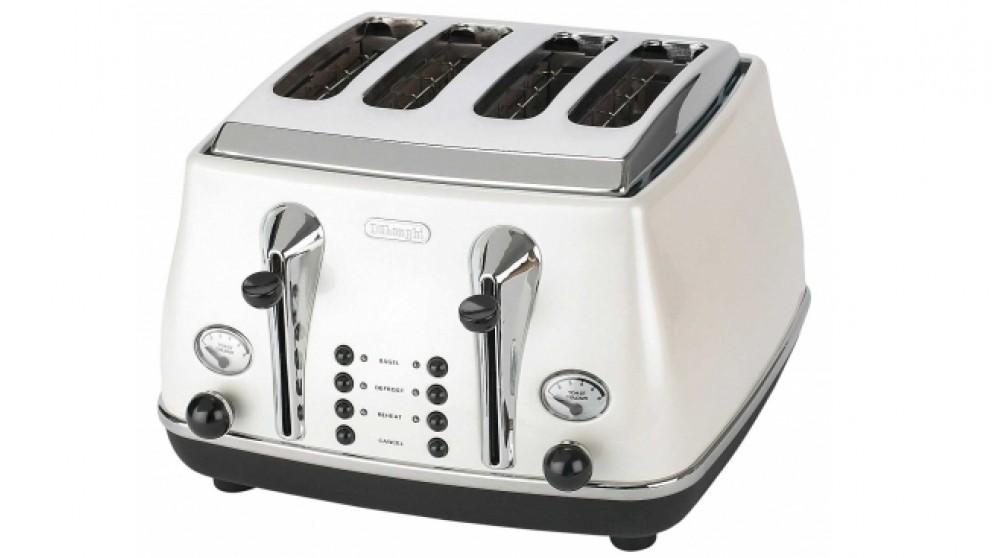 DeLonghi Icona 4 Slice Toaster - White