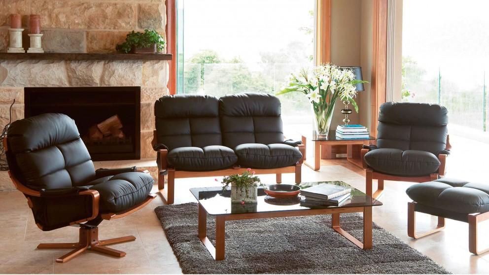 Harvey Norman Grey Leather Sofa