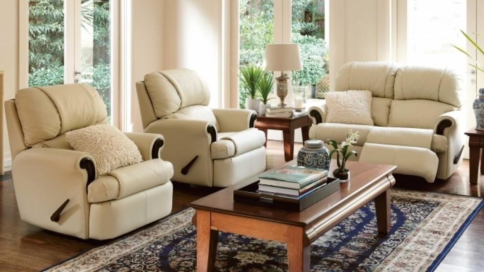 Bunbury 3 piece recliner leather lounge suite recliner for Furniture 3 piece suites