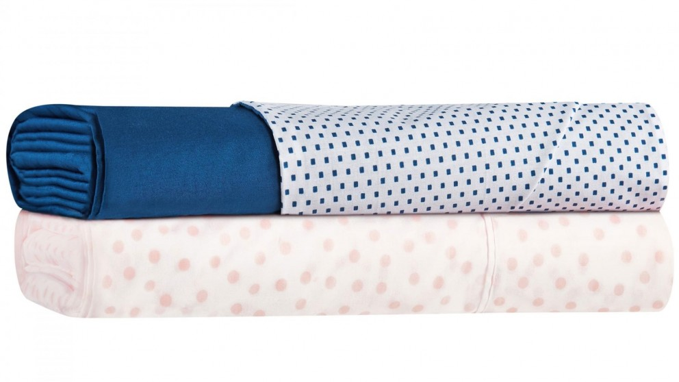 Squared 250 Thread Count Blue Sheet Set