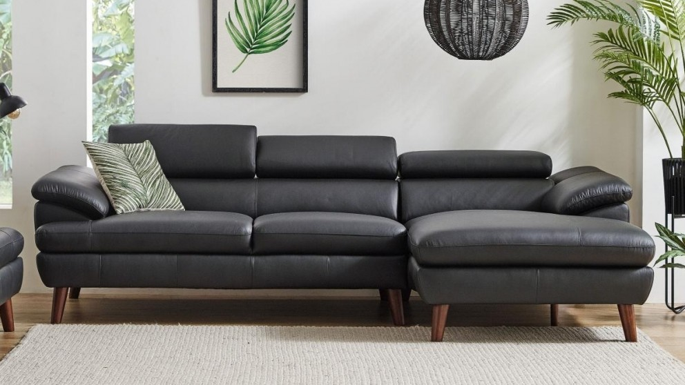Boston 2.5-Seater Leather Sofa with Chaise - Black