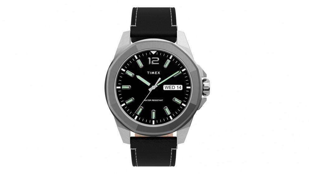 TIMEX Essex Avenue 44mm Leather Strap Watch - Black