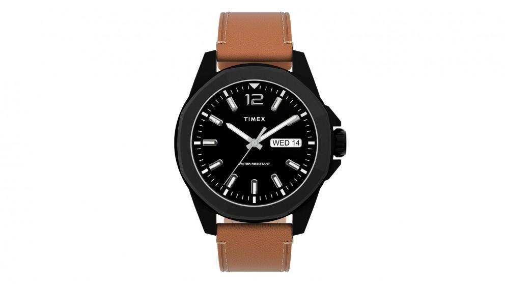 TIMEX Essex Avenue 44mm Leather Strap Watch - Brown