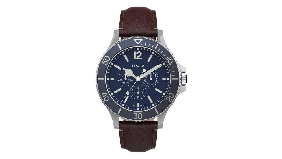 TIMEX Harborside 43mm Leather Strap Watch - Brown