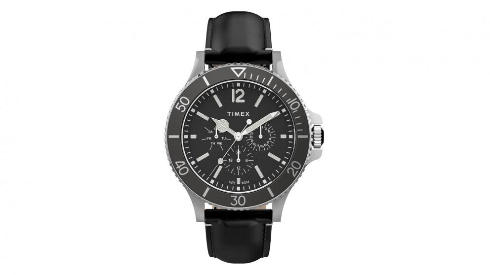 TIMEX Harborside 43mm Leather Strap Watch - Black