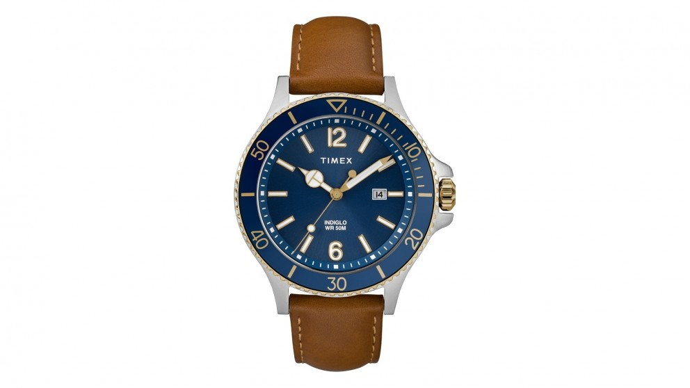 TIMEX Harborside 42mm Leather Strap Watch - Tan