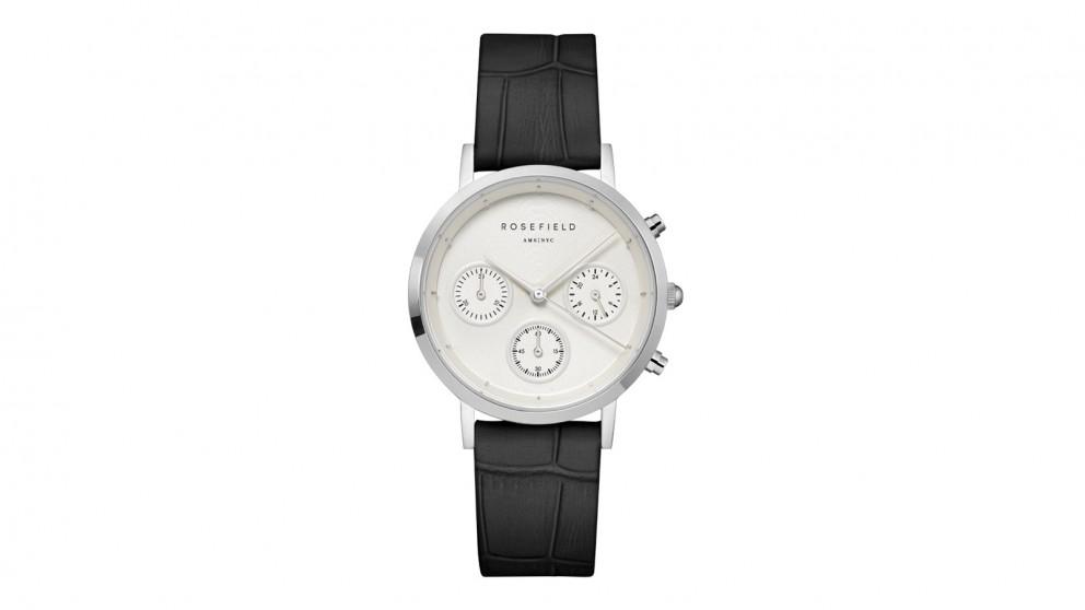 Rosefield Gabby Black Leather Strap Watch - Silver Tone