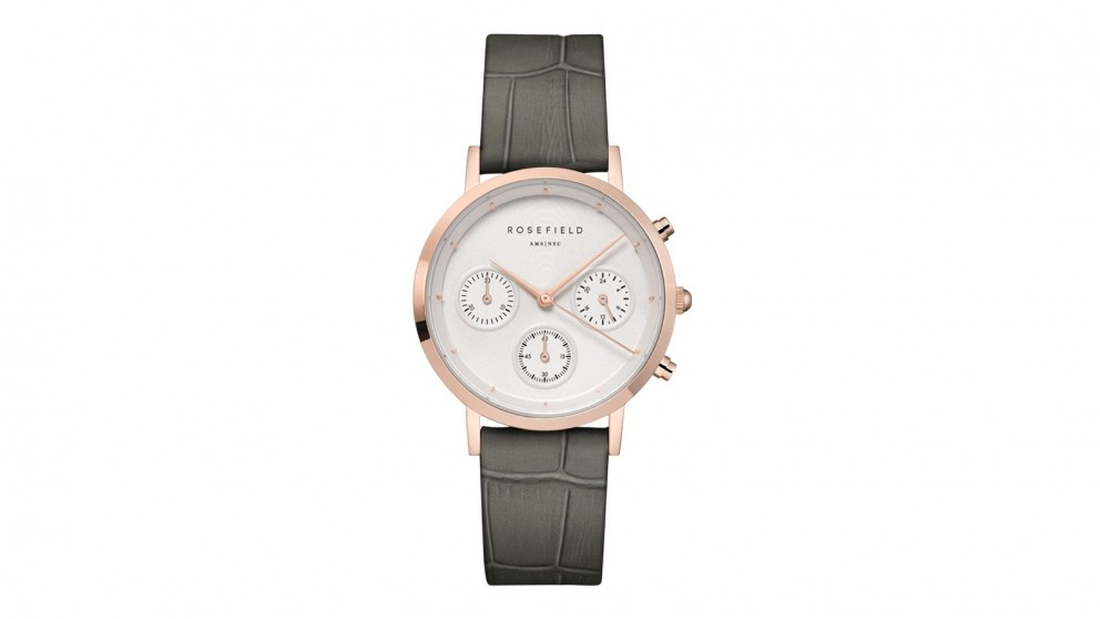 Rosefield Gabby Grey Leather Strap Watch - Rose Gold Tone