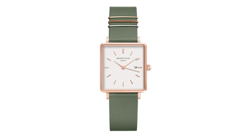 Rosefield The Boxy Light Green Leather Strap Watch - Rose Gold Tone