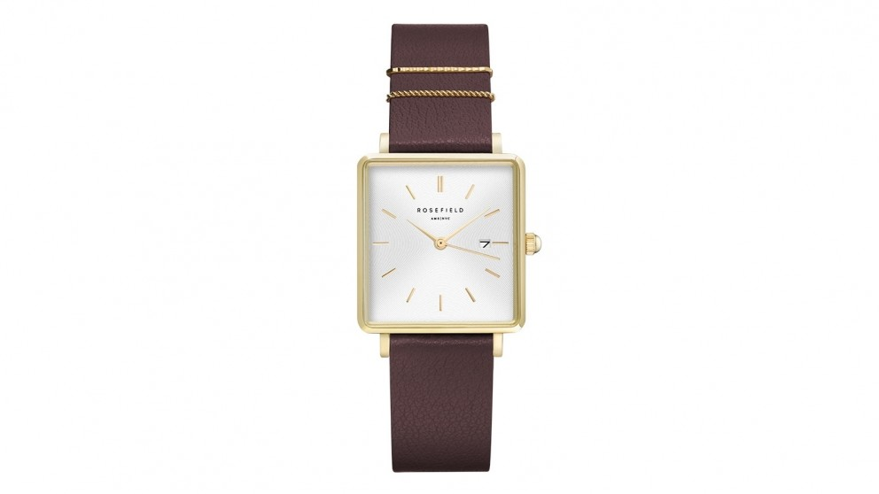 Rosefield The Boxy Purple Leather Strap Watch - Gold Tone