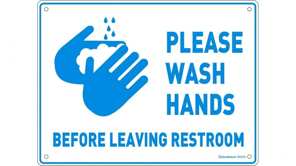 "Sandleford Medium Sign PP 300mm x 225mm ""Please Wash hands before leaving restroom"""