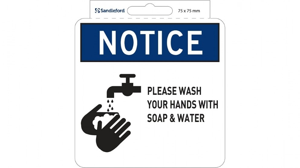 """Sandleford Sign Self Adhesive 75mm x 75mm """"Please Wash hands with Soap  Water"""""""