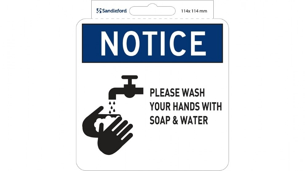"""Sandleford Sign Self Adhesive 114mm x 114mm """"Please Wash hands regularly with Soap  Water"""""""