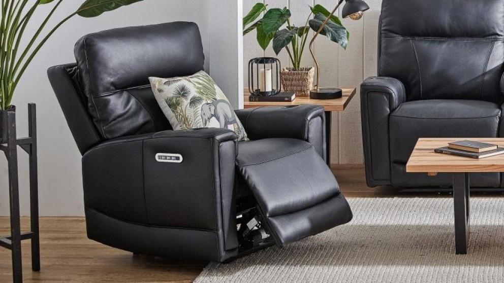 Leura Leather Powered Recliner Armchair - Ebony