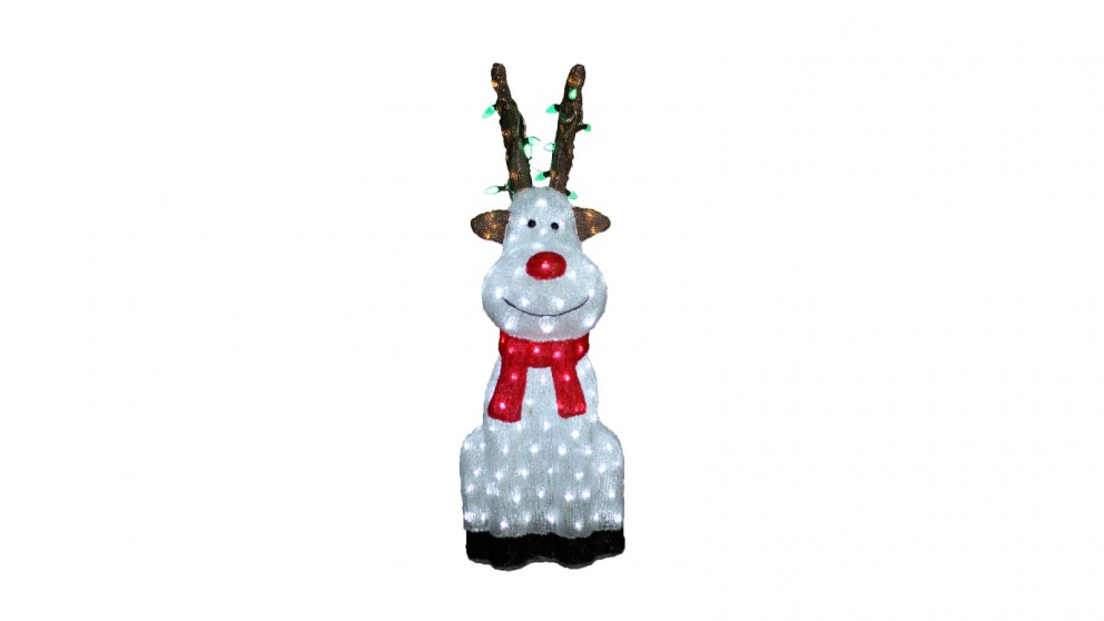Lexi Lighting Acrylic Sitting Red Nose Reindeer with Christmas Lights - Small