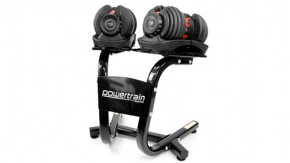 PowerTrain Adjustable Dumbbell Pair 48kg with Stand