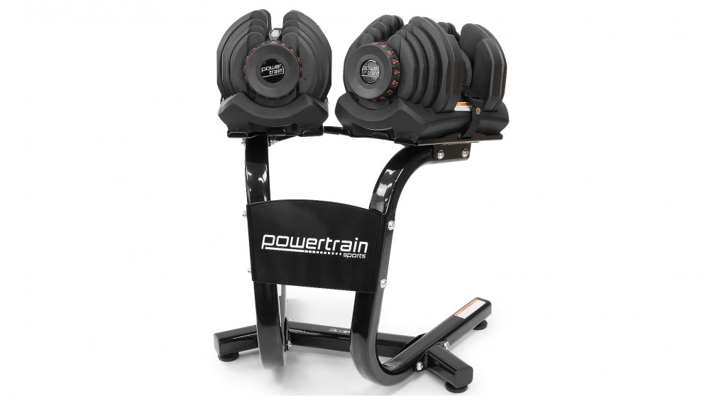 PowerTrain Adjustable Dumbbell Pair 80kg with Stand
