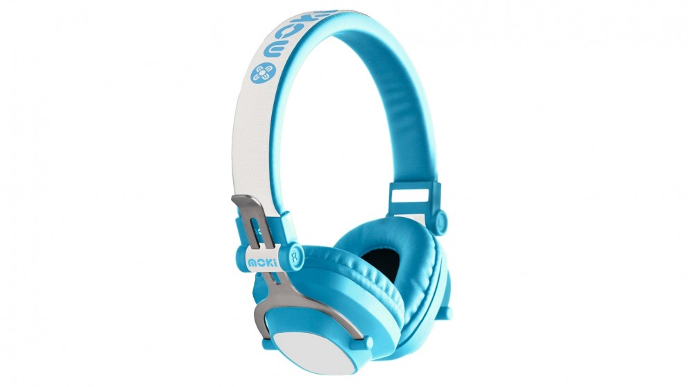 Moki EXO Kids Bluetooth Wireless On-Ear Headphones - Blue