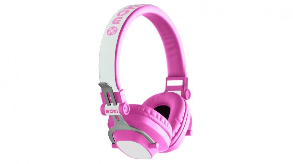 Moki EXO Kids Bluetooth Wireless On-Ear Headphones - Pink