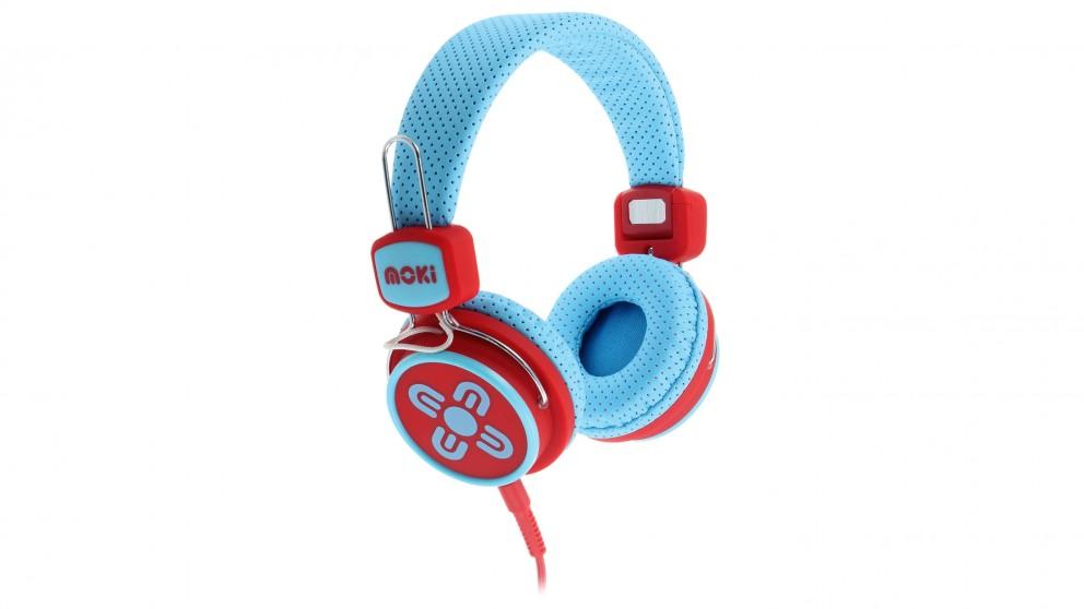 Moki Kid Safe Limited On-Ear Headphones - Blue/Red